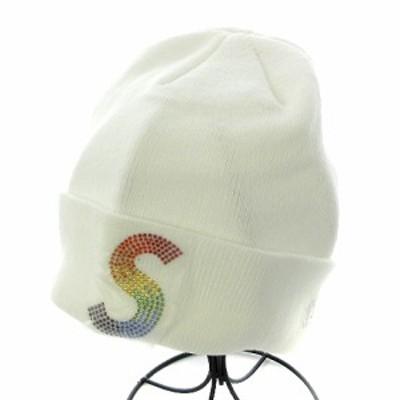 【中古】未使用品 シュプリーム SUPREME ニットキャップ ビーニー ニット帽 ラインストーン 白 /AK9 メンズ
