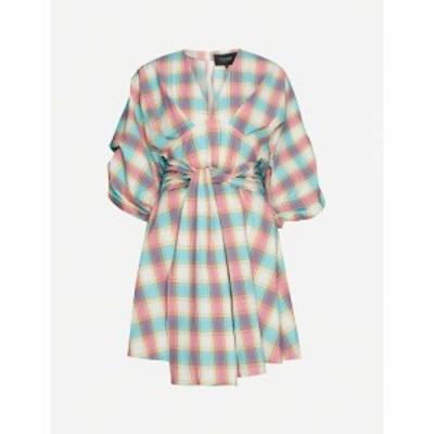 ペーパーロンドン PAPER LONDON レディース ワンピース ミニ丈 ワンピース・ドレス Kaia check-print cotton mini dress Adios Beaches M
