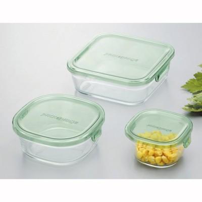 食品保存容器 耐熱ガラス製 パック&レンジ システムセット グリーン