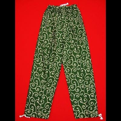 唐草・からくさ(渋抹茶緑)和柄ズボン 男女兼用 義若オリジナル
