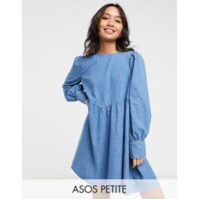 エイソス レディース ワンピース トップス ASOS DESIGN Petite soft denim puff sleeve smock dress in midwash Mid blue