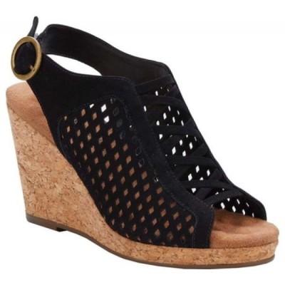 ウォーキング クレードル Walking Cradles レディース サンダル・ミュール ウェッジソール シューズ・靴 Keegan Slingback Wedge Black Perforated Nubuck