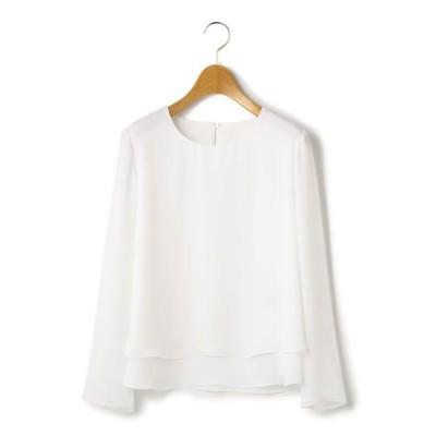 KEITH Lサイズ/キースエルサイズ ドレープサテン ブラウス ホワイト 46