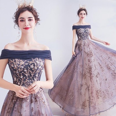 パーティードレス 結婚式 ロングドレス カラードレス ウェディングドレス イブニングドレス Aライン 大きいサイズ 演奏会 お花嫁ドレス 二次会ドレス 姫系