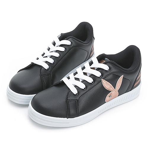 PLAYBOY New Classic 條紋魅力 兔兔小白鞋-黑玫瑰金(Y7220)