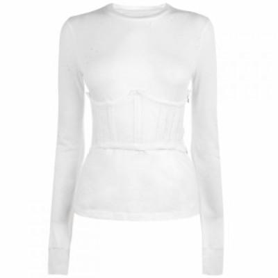 ケンダルアンドカイリー Kendall and Kylie レディース Tシャツ トップス Distress T Shirt White