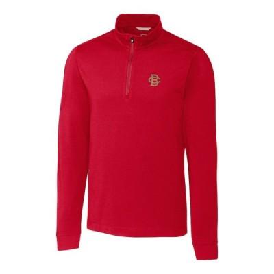 """メンズ ジャケット """"Boston College Eagles"""" Cutter & Buck Vault Advantage 1/4-Zip Mock Neck Pullover Sweater - Cardinal"""