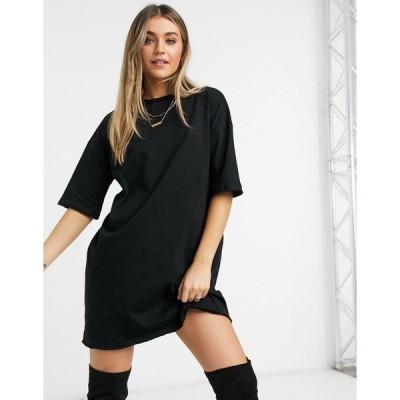 エイソス ミディドレス レディース ASOS DESIGN t-shirt dress in black エイソス ASOS ブラック 黒