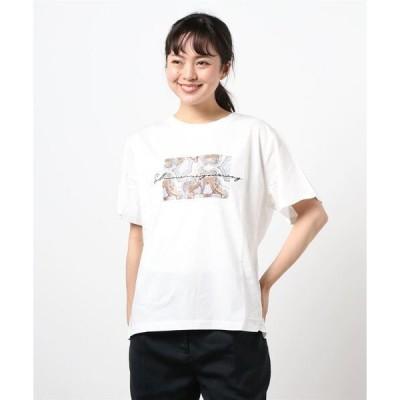 tシャツ Tシャツ 刺繍ロゴ*ストゥレイタムプリントドライタッチコットンTシャツ