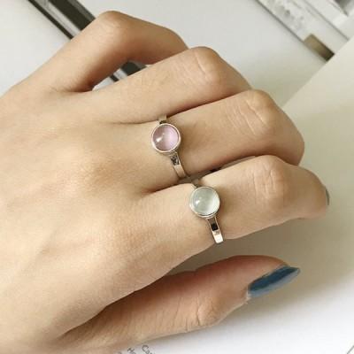 指輪 リング アクセサリー レディース 女性用 シルバー925 シルバーカラー ピンク ホワイト円型 サイズ調整可能 開口 かわいい おしゃれ シンプ