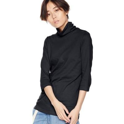 セシール Tシャツ ロング丈 UVカット ルーズネック 七分袖 綿100% 2丈展開 AV-327 レディース ブラック(ロング) 日本 L