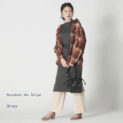 toucher du brise チェック ビッグシルエット ジャケット 【toucher du brise】 アウター オーバーサイズ ブルゾン ドロップショルダー ベルト付き 韓国 ファッション レディース  婦人服 ファッション20代 30代 40代 人気コーデ おしゃれ 通販 ブラック M レディース