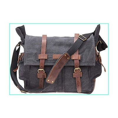 TINTAO Mens Canvas Messenger Bag Retro Leather Trim Shoulder Bags Laptop Satchel Military Crossbody Bag A90 (Black)並行輸入品