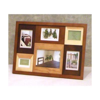 フォトフレーム 写真立て カラーウッド フォトフレーム 6コマ・ブラウン 0717-61  (木製 ファミリー フォトフレーム 写真立て スタンド別売り 壁掛け金具付)