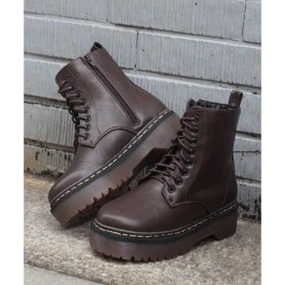 ブーツ 様々なスタイルに取り入れやすい厚底クリアソールレースアップブーツ!!