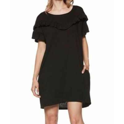 Paige ペイジ ファッション ドレス PAIGE NEW Black Womens Size XS Adalie Ruffle Crewneck T-Shirt Dress
