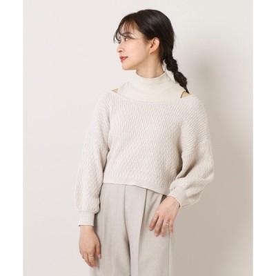 ニット [mline]柄編みショートカーディガン