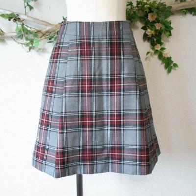 美品 フランシュリッペ franche lippee 秋冬 向き ウール 100% チェック の 可愛い スカート 日本製 M