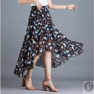 シフォンロングスカートスカートマキシスカート体型カバーシフォンスカートロングシフォンフレア花柄ハイウエスト