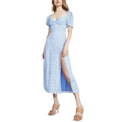バードット レディース ワンピース トップス Puff-Sleeve High-Slit Midi Dress