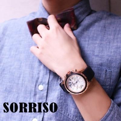 正規品SORRISOソリッソ ビッグケースにラバーベルトのカジュアル時計 フェイクダイヤル SRF7 メンズ腕時計