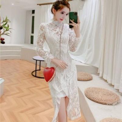 韓国 パーティードレス オルチャン ドレス 結婚式 お呼ばれ ドレス フォーマル ドレス パーティー ドレス 20代 30代 40代 スタンドネック