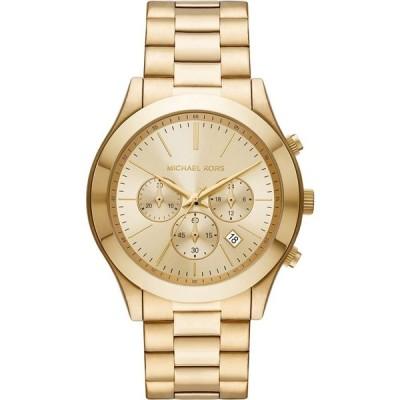 マイケル コース Michael Kors メンズ 腕時計 クロノグラフ MK8909 - Slim Runway Chronograph Stainless Steel Watch Gold