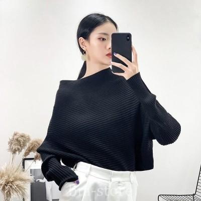 レディースリブニットセーター長袖あったかオーバーサイズトップスブラックホワイト黒白SMLサイズ