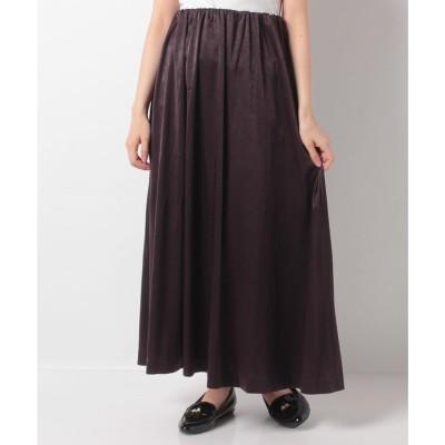 koe サテンゴムギャザースカート(ディープパープル)【返品不可商品】