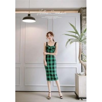 韓国 オルチャン セットアップ グリーン チェック 可愛い ビスチェ スカート セットアップ ひざ下丈 ミモレ丈 オフショルダー