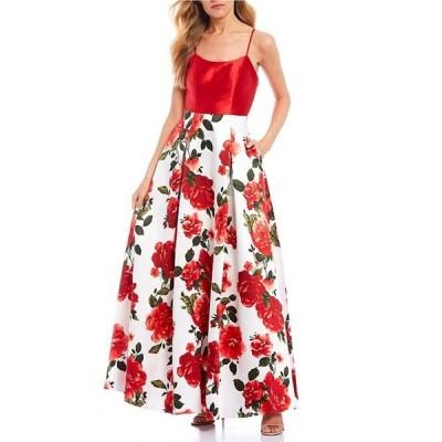 シークインハーツ レディース ワンピース トップス Lace-Up-Back Floral Skirt Ballgown
