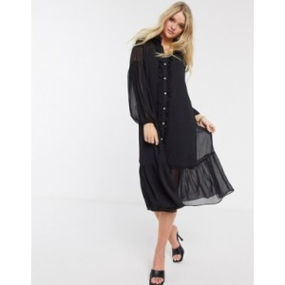リバーアイランド レディース ワンピース トップス River Island long sleeve ruffle smock midi dress in black Black