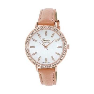 腕時計 ジェノバプラチナ Geneva Platinum レディース 4947.CORAL.ローズゴールド Coral レザー クォーツ 腕時計