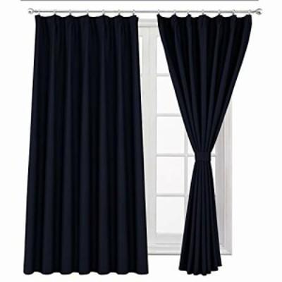 WONTEX 遮光カーテン 2枚組 断熱 防寒 目隠し UVカット ドレープカーテン ダークブルー 幅100cm×丈200cm 形態安定加工 リビングルーム
