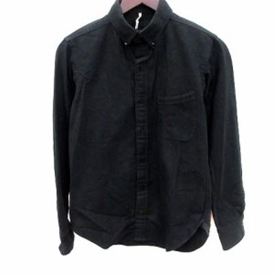 【中古】m'braque シャツ ボタンダウン 長袖 36 黒 ブラック /RT メンズ