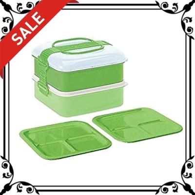 サンコープラスチック 弁当箱 ピクニックケース リオパック 2段 取り皿2枚付き グリーン 約W202D190H138mm