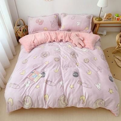 秋冬セット、両面クリスタルフリース厚みのあるフランネルフレンチフリーススノーフリースルナ寝具