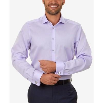 カルバンクライン シャツ トップス メンズ Men's Slim-Fit Non-Iron Performance Herringbone French Cuff Dress Shirt Purple