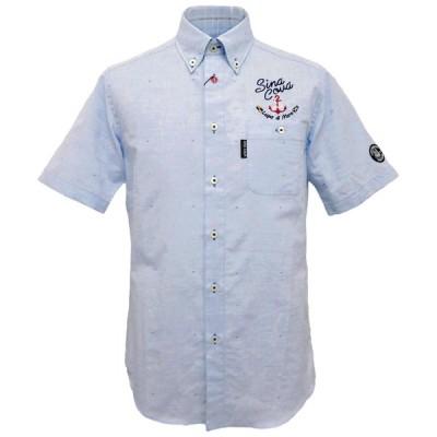 2021春夏新作 シナコバ 綿麻 蛍光色のドビー織り半袖ボタンダウンシャツ《ブルー》(M、L、LL) SH*0121114510210