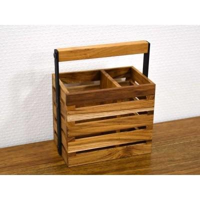 チーク ツールボックス S ハンドル 持ち手付き バスケット 木製 無垢材 天然木 ウッド 収納 ステーショナリー 文具 シンプル ナチュラル おしゃれ アジアン 北欧