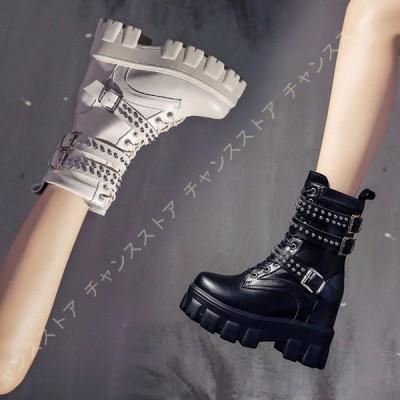 リベット ハイヒール ショートブーツ 編み上げブーツ レディース インヒール ベルト付き マーティンブーツ おしゃれ ウェッジソール 美脚 冬ブーツ 10cmヒール