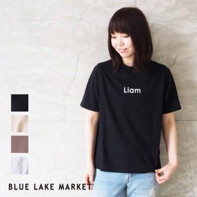 BLUE LAKE MARKET ブルーレイクマーケット レディース Tシャツ 変形プリントTee B-381001 半袖 夏 プリントT ロゴT ロゴ