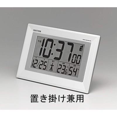 リズム時計工業 掛け時計 白 16.4x25.5x2.9cm 電波 デジタル 置き掛け兼用 温度 湿度 カレンダー 8RZ204SR03