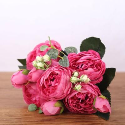 フェイクペルシャローズ5花シルクブーケパーティーデコレーション装飾ローズレッド
