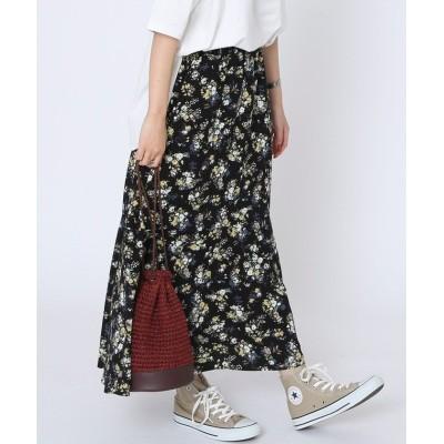 (coen/コーエン)マーメイドプリントスカート/レディース BLACK