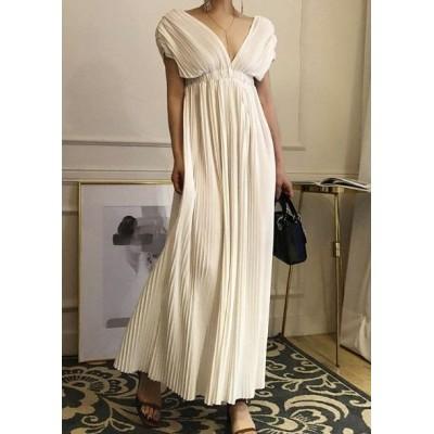 結婚式ドレス お呼ばれ ドレス ワンピース 30代 20代 プリーツスカート パーティドレス ロング パーティードレス 結婚式 二次会 vネック ノースリーブ jm7154