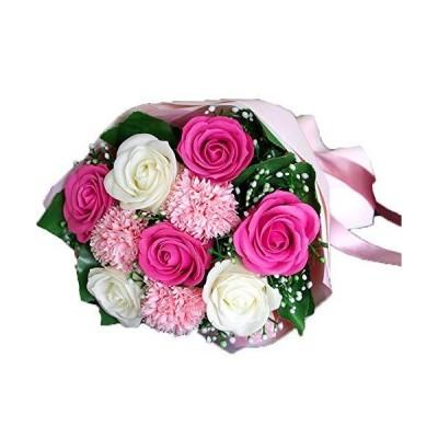 ソープフラワー 花束 ブーケ ピンク ローズ カーネーション バラの花束 造花 枯れない花 誕生日 記念日 お祝い