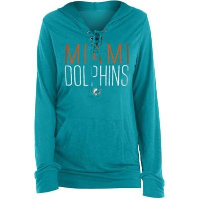 ニューエラ New Era レディース パーカー トップス Miami Dolphins Lace Hood Aqua Long Sleeve T-Shirt