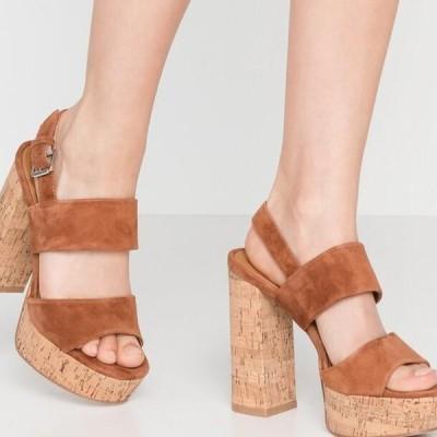 レディース サンダル LEATHER - High heeled sandals - cognac