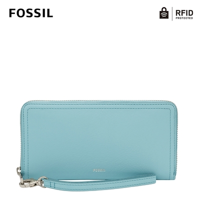 FOSSIL Logan 多層真皮拉鍊RFID防盜長夾-土耳其藍色 SL7831441